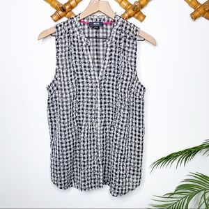 Anthropologie Maeve Check Plaid Embroidered Tank